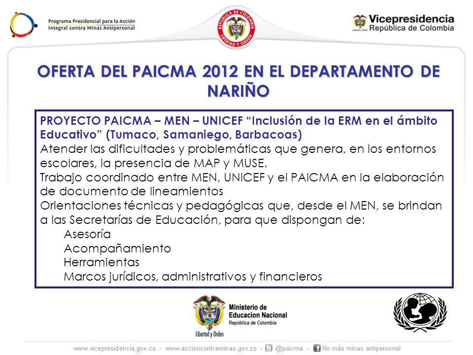 OFERTA DEL PAICMA 2012 EN EL DEPARTAMENTO DE NARIÑO PROYECTO PAICMA – MEN – UNICEF Inclusión de la ERM en el ámbito Educativo (Tumaco, Samaniego, Barb