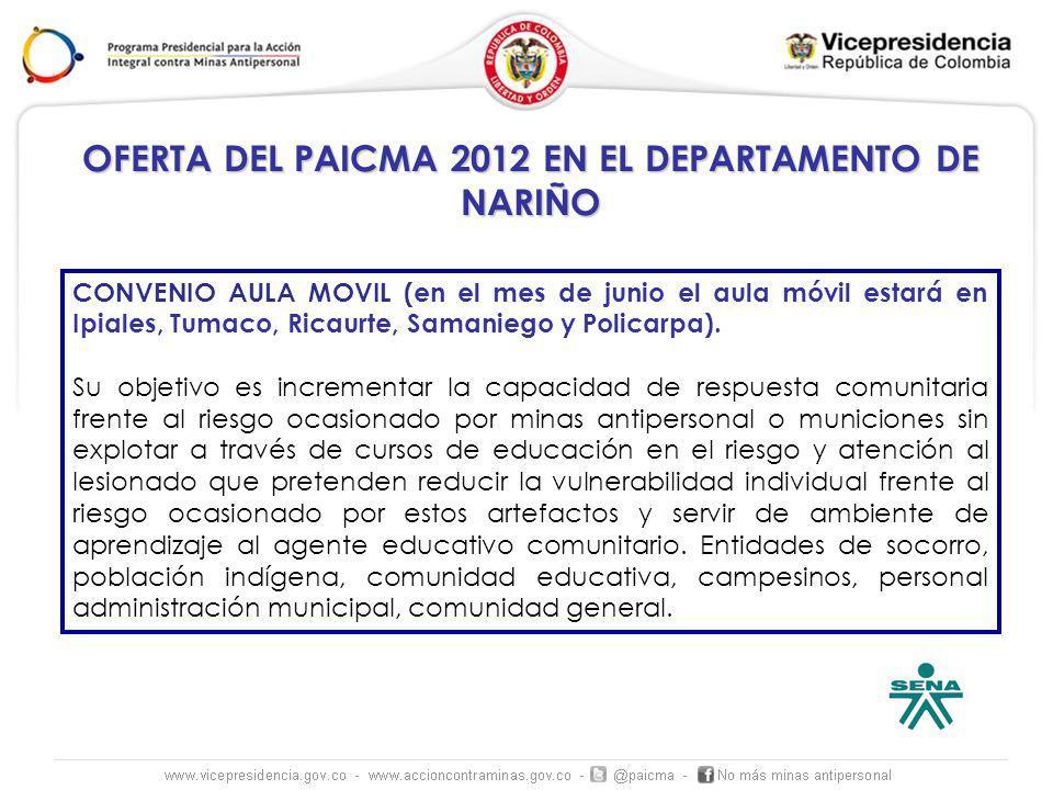 OFERTA DEL PAICMA 2012 EN EL DEPARTAMENTO DE NARIÑO CONVENIO AULA MOVIL (en el mes de junio el aula móvil estará en Ipiales, Tumaco, Ricaurte, Samanie