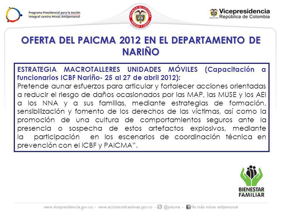 OFERTA DEL PAICMA 2012 EN EL DEPARTAMENTO DE NARIÑO ESTRATEGIA MACROTALLERES UNIDADES MÓVILES (Capacitación a funcionarios ICBF Nariño- 25 al 27 de ab