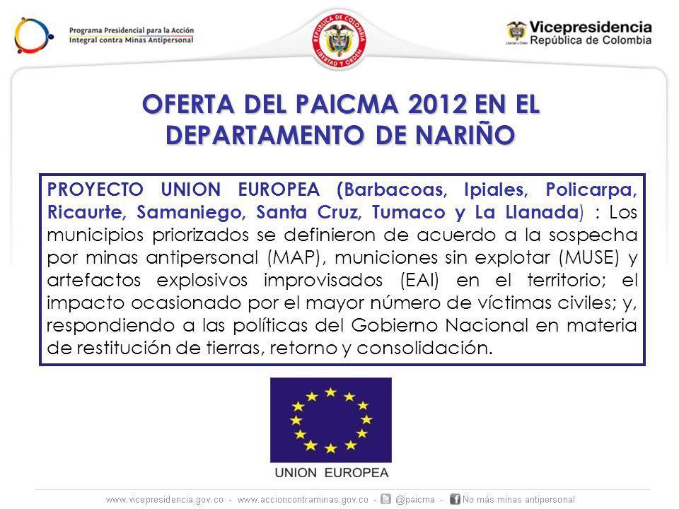 OFERTA DEL PAICMA 2012 EN EL DEPARTAMENTO DE NARIÑO PROYECTO UNION EUROPEA (Barbacoas, Ipiales, Policarpa, Ricaurte, Samaniego, Santa Cruz, Tumaco y L