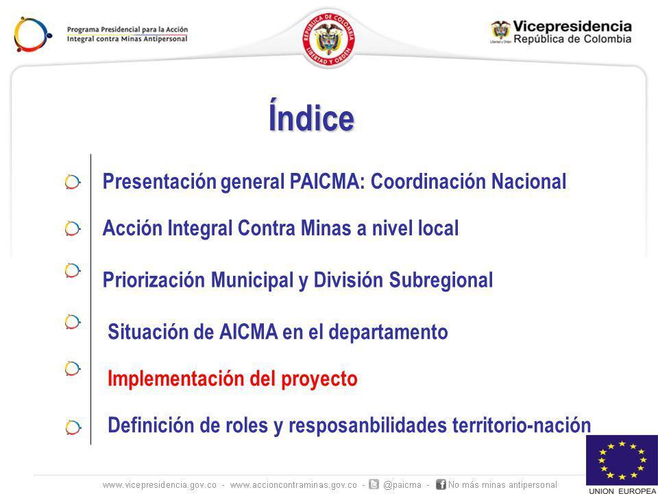 Presentación general PAICMA: Coordinación Nacional Índice Acción Integral Contra Minas a nivel local Priorización Municipal y División Subregional Imp