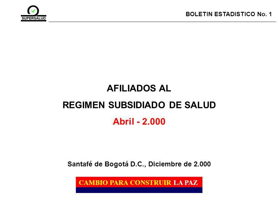 AFILIADOS AL REGIMEN SUBSIDIADO DE SALUD Abril - 2.000 BOLETIN ESTADISTICO No.