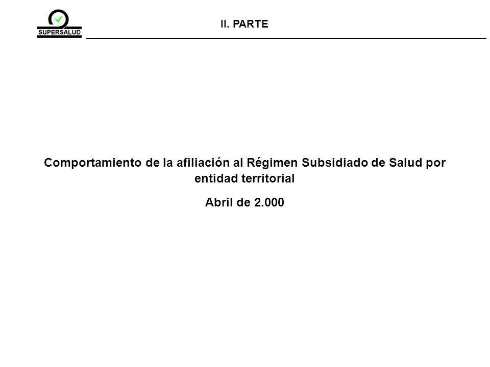 II. PARTE Comportamiento de la afiliación al Régimen Subsidiado de Salud por entidad territorial Abril de 2.000