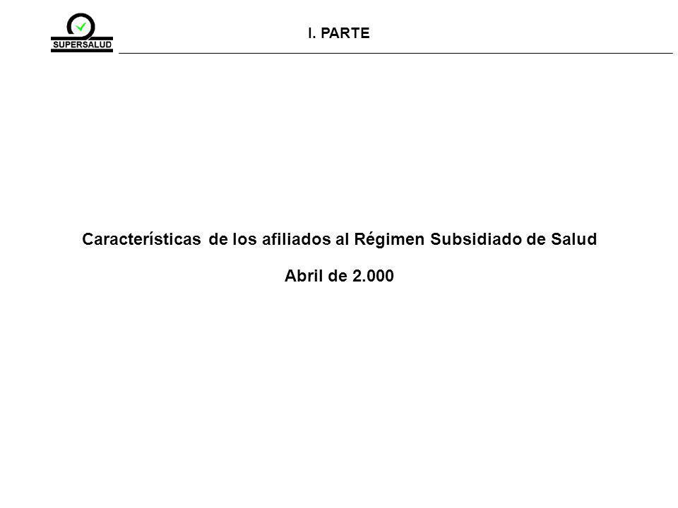 I. PARTE Características de los afiliados al Régimen Subsidiado de Salud Abril de 2.000