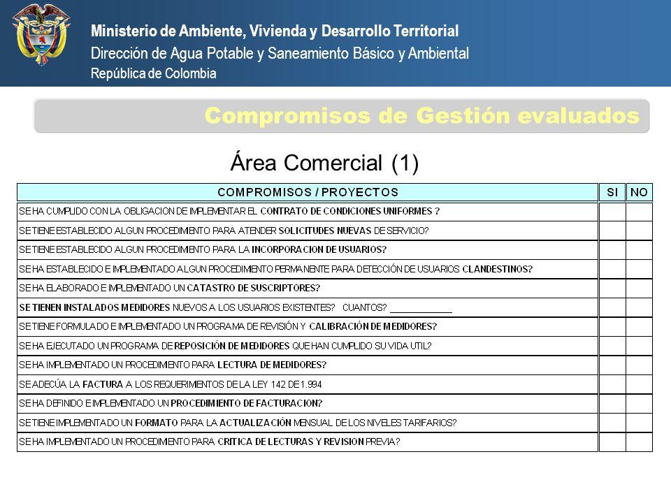 Área Comercial (1) Ministerio de Ambiente, Vivienda y Desarrollo Territorial Dirección de Agua Potable y Saneamiento Básico y Ambiental República de C