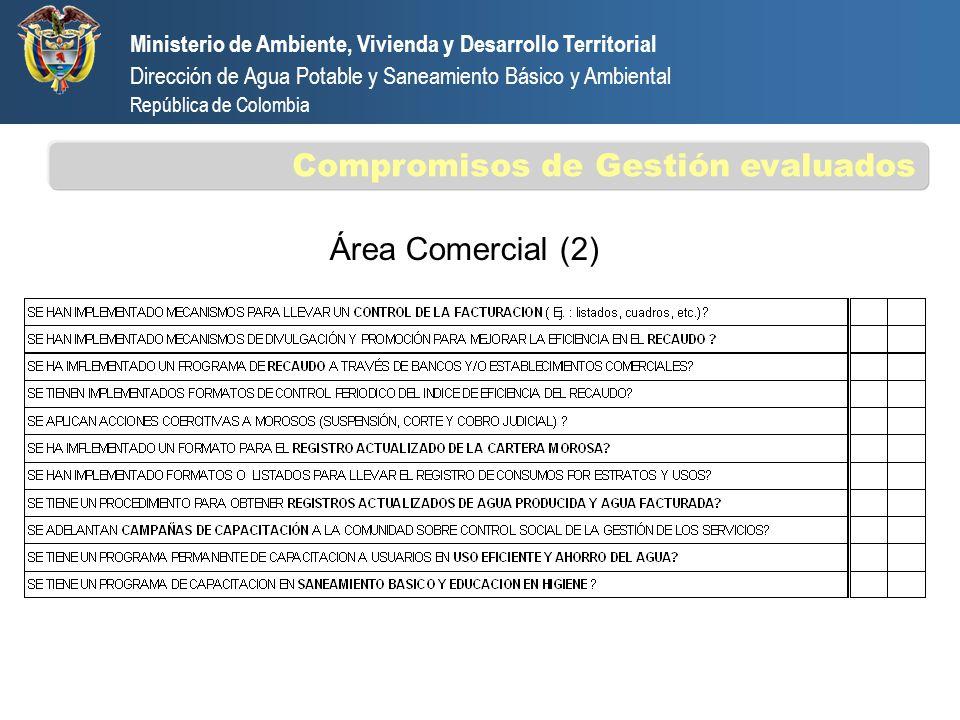 Área Comercial (2) Ministerio de Ambiente, Vivienda y Desarrollo Territorial Dirección de Agua Potable y Saneamiento Básico y Ambiental República de C