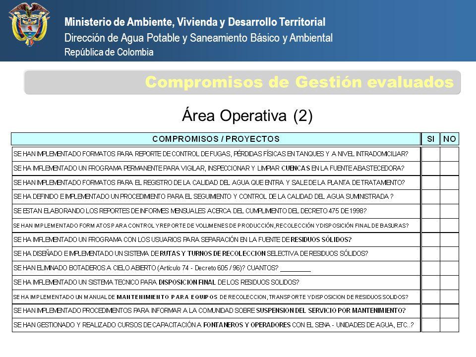 Área Operativa (2) Ministerio de Ambiente, Vivienda y Desarrollo Territorial Dirección de Agua Potable y Saneamiento Básico y Ambiental República de C