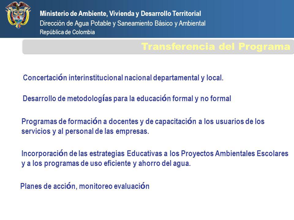 Concertaci ó n interinstitucional nacional departamental y local. Desarrollo de metodolog í as para la educaci ó n formal y no formal Programas de for