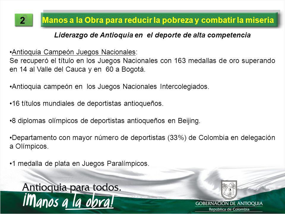 Manos a la Obra para reducir la pobreza y combatir la miseria 2 2 Liderazgo de Antioquia en el deporte de alta competencia Antioquia Campeón Juegos Na
