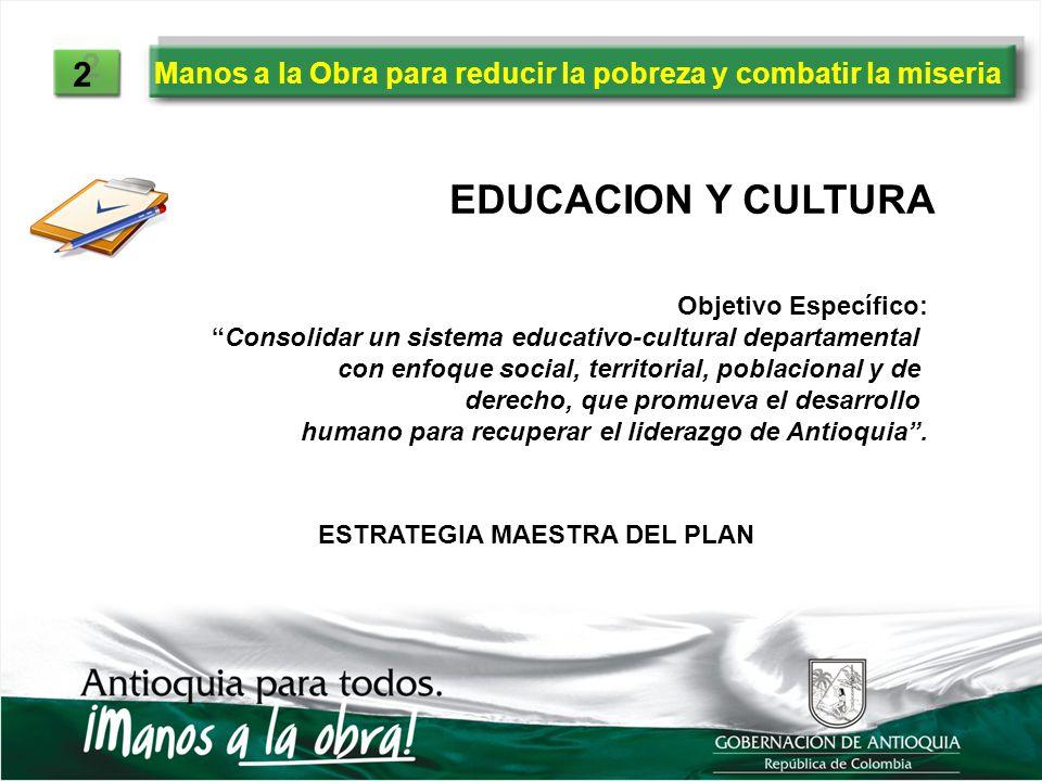 Manos a la Obra para reducir la pobreza y combatir la miseria 2 2 EDUCACION Y CULTURA Objetivo Específico: Consolidar un sistema educativo-cultural de