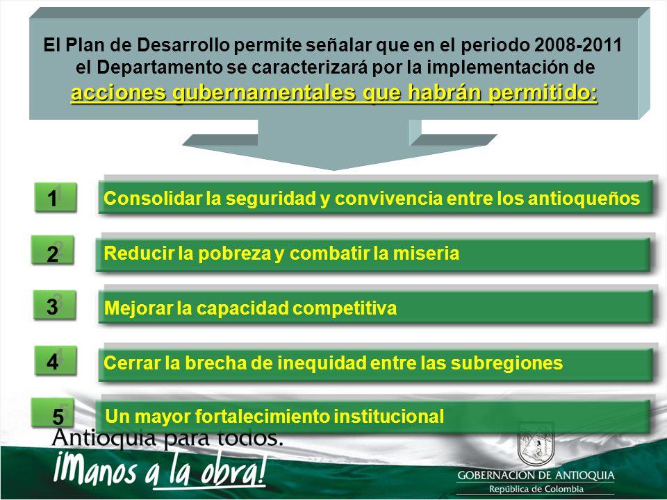El Plan de Desarrollo permite señalar que en el periodo 2008-2011 el Departamento se caracterizará por la implementación de acciones gubernamentales q
