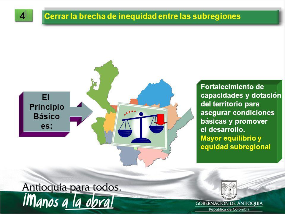 Cerrar la brecha de inequidad entre las subregiones 4 4 El Principio Básico es: Fortalecimiento de capacidades y dotación del territorio para asegurar