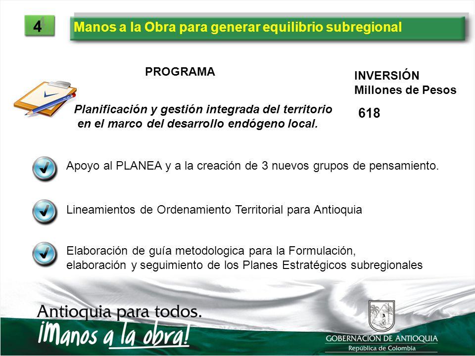 Manos a la Obra para generar equilibrio subregional 4 4 PROGRAMA INVERSIÓN Millones de Pesos Planificación y gestión integrada del territorio en el ma