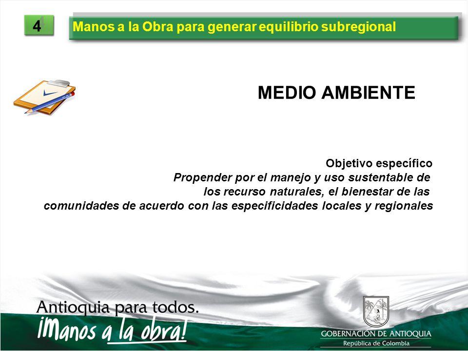 Manos a la Obra para generar equilibrio subregional 4 4 MEDIO AMBIENTE Objetivo específico Propender por el manejo y uso sustentable de los recurso na