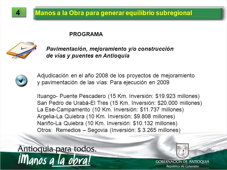 Manos a la Obra para generar equilibrio subregional 4 4 PROGRAMA Pavimentación, mejoramiento y/o construcción de vías y puentes en Antioquia Adjudicac