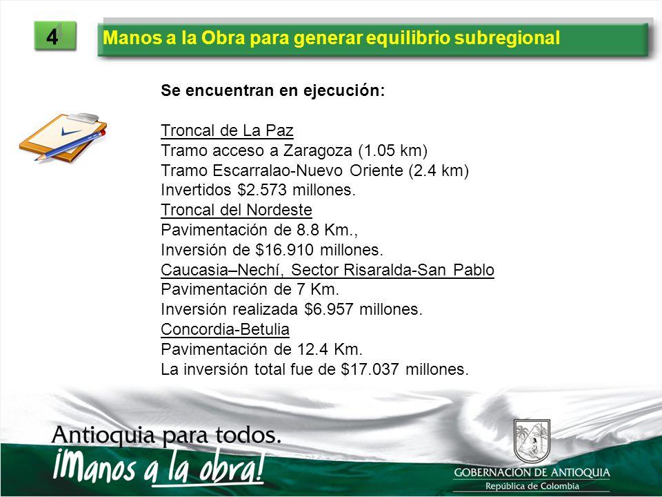 Manos a la Obra para generar equilibrio subregional 4 4 Se encuentran en ejecución: Troncal de La Paz Tramo acceso a Zaragoza (1.05 km) Tramo Escarral