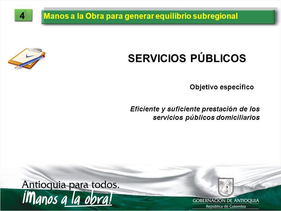 Manos a la Obra para generar equilibrio subregional 4 4 SERVICIOS PÚBLICOS Eficiente y suficiente prestación de los servicios públicos domiciliarios O