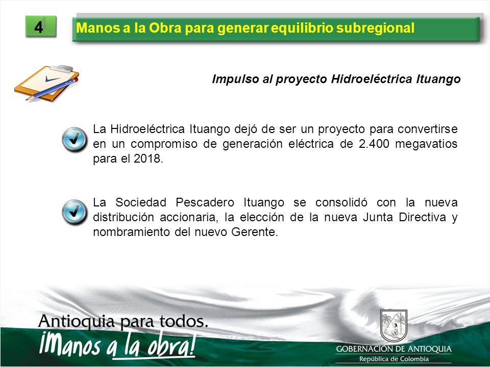 Impulso al proyecto Hidroeléctrica Ituango La Hidroeléctrica Ituango dejó de ser un proyecto para convertirse en un compromiso de generación eléctrica