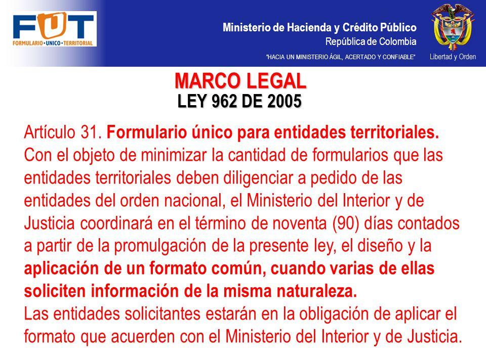 Ministerio de Hacienda y Crédito Público República de Colombia HACIA UN MINISTERIO ÁGIL, ACERTADO Y CONFIABLE LEY 962 DE 2005 Artículo 31. Formulario