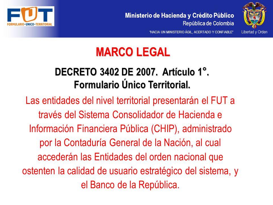 Ministerio de Hacienda y Crédito Público República de Colombia HACIA UN MINISTERIO ÁGIL, ACERTADO Y CONFIABLE FUT Ministerio de Hacienda y Crédito Público República de Colombia ENTIDADES PARTICIPANTES