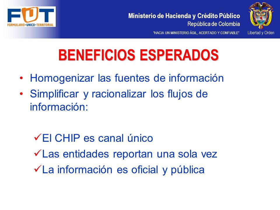 Ministerio de Hacienda y Crédito Público República de Colombia HACIA UN MINISTERIO ÁGIL, ACERTADO Y CONFIABLE BENEFICIOS ESPERADOS Homogenizar las fue