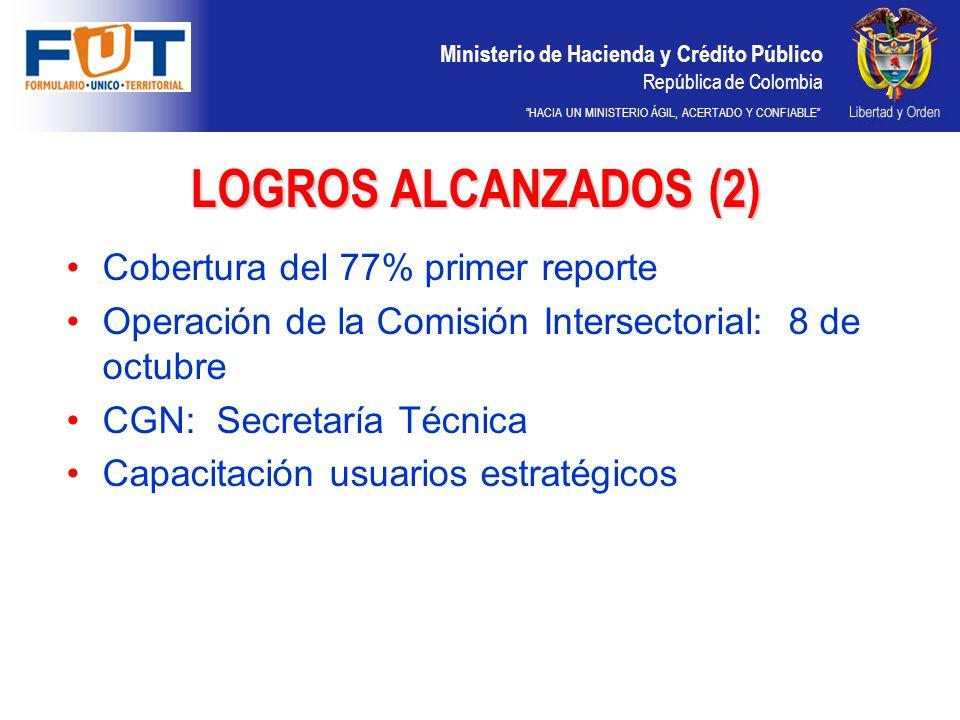 Ministerio de Hacienda y Crédito Público República de Colombia HACIA UN MINISTERIO ÁGIL, ACERTADO Y CONFIABLE LOGROS ALCANZADOS (2) Cobertura del 77%