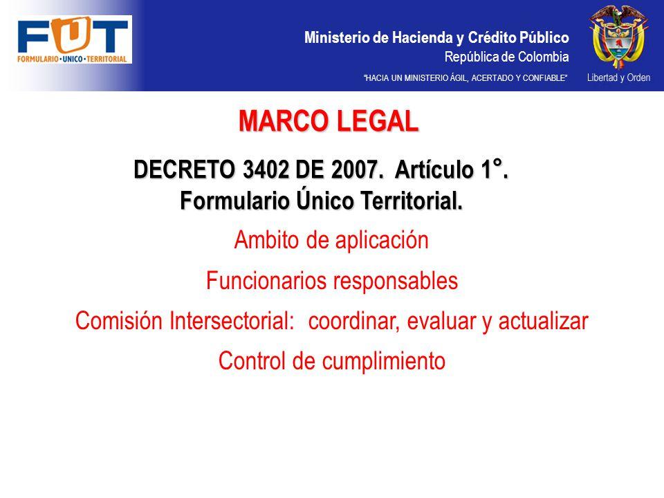 Ministerio de Hacienda y Crédito Público República de Colombia HACIA UN MINISTERIO ÁGIL, ACERTADO Y CONFIABLE FECHA DE CORTEFECHA LIMITE DE PRESENTACION 31 DE MARZO30 DE ABRIL 30 DE JUNIO31 DE JULIO 30 DE SEPTIEMBRE31 DE OCTUBRE 31 DE DICIEMBRE15 DE MARZO DEL AÑO SIGUIENTE PRESUPUESTO INICIAL15 DE ENERO LA PRIMERA PRESENTACIÓN DE INFORMACIÓN DEL FORMULARIO ÚNICO TERRITORIAL SE REALIZO CON LA INFORMACIÓN DEL CORTE DEL 30 DE JUNIO DE 2008.