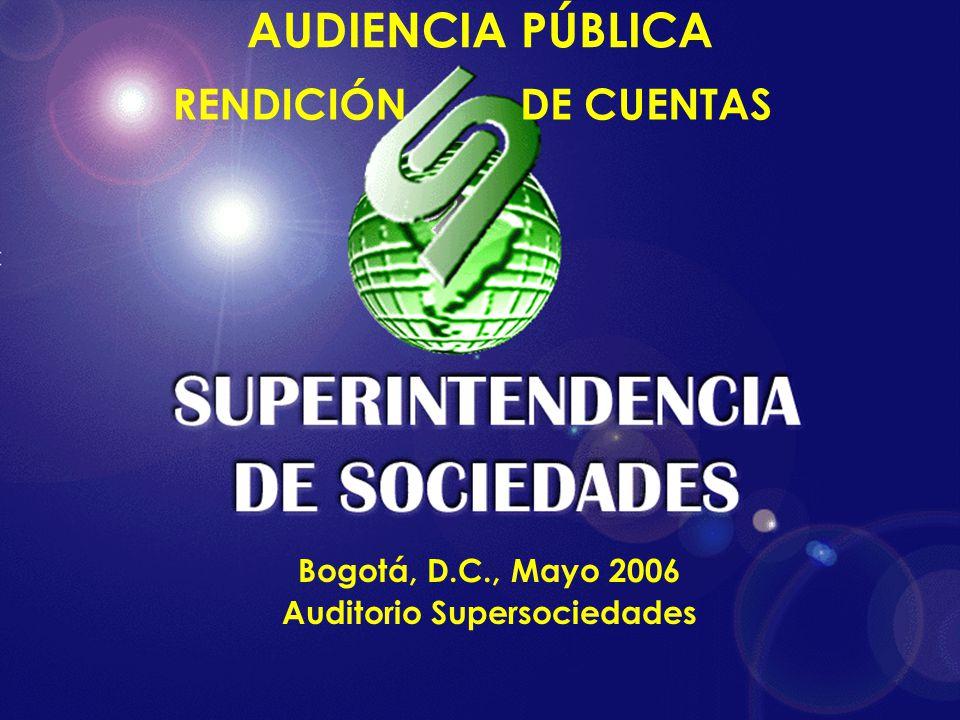 AUDIENCIA PÚBLICA RENDICIÓNDE CUENTAS Bogotá, D.C., Mayo 2006 Auditorio Supersociedades