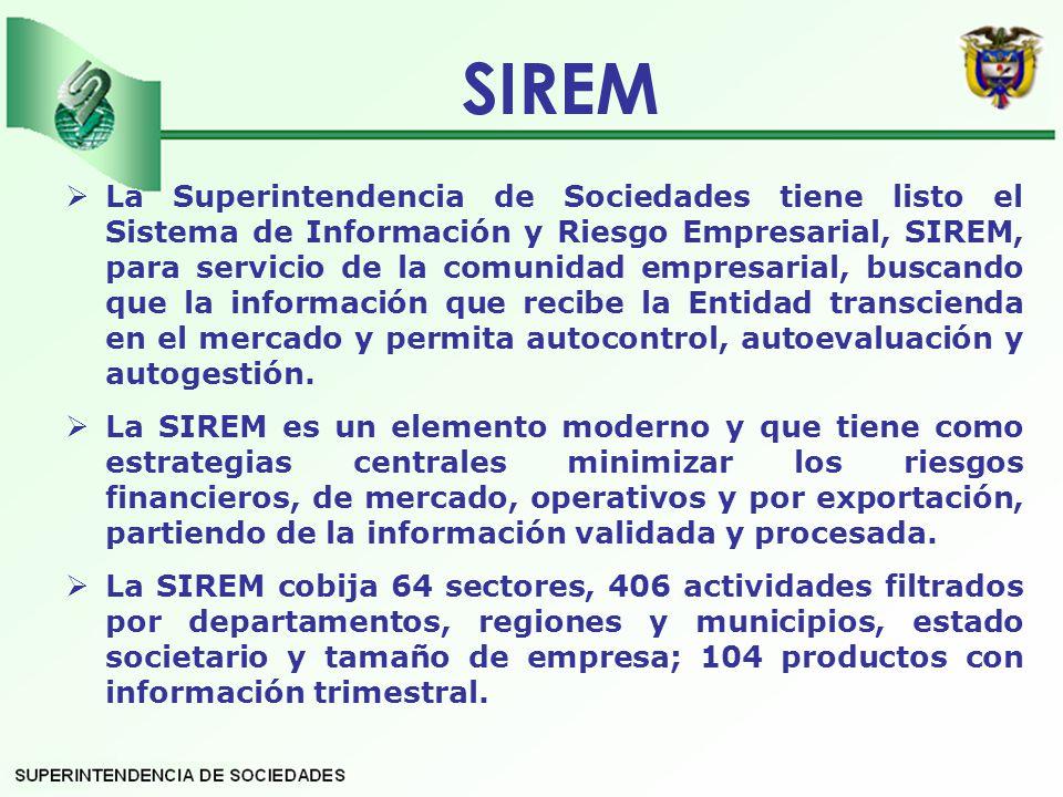 La Superintendencia de Sociedades tiene listo el Sistema de Información y Riesgo Empresarial, SIREM, para servicio de la comunidad empresarial, buscando que la información que recibe la Entidad transcienda en el mercado y permita autocontrol, autoevaluación y autogestión.