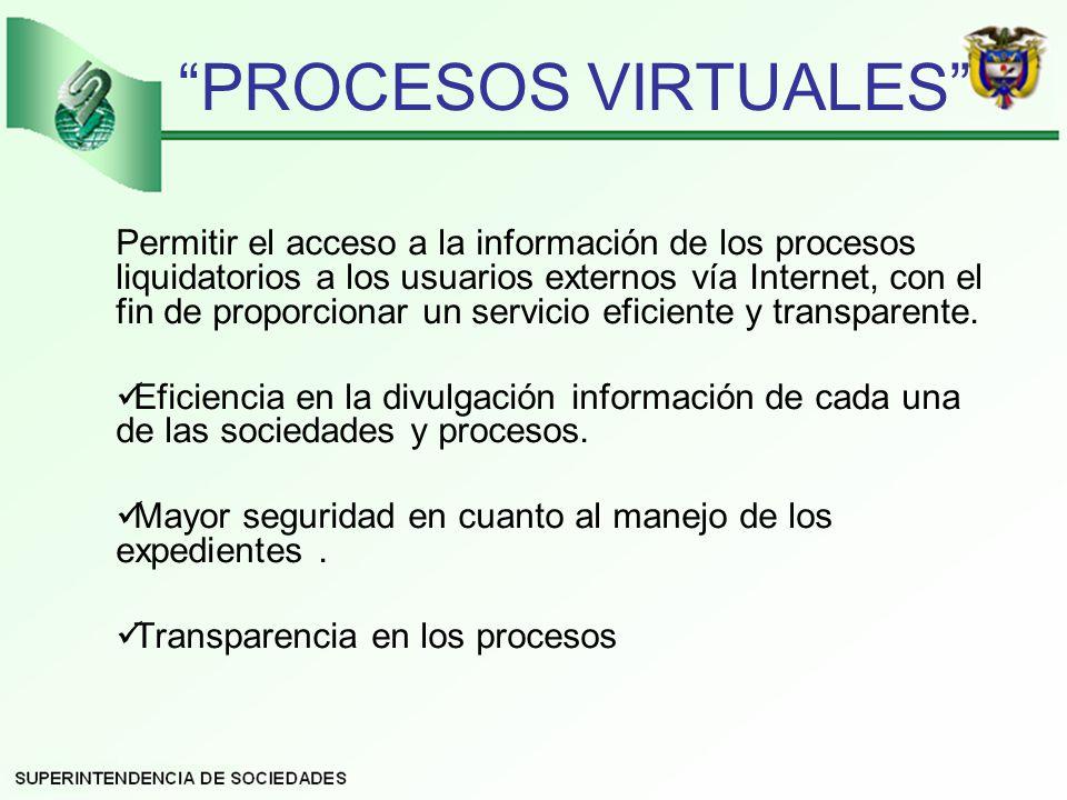 PROCESOS VIRTUALES Permitir el acceso a la información de los procesos liquidatorios a los usuarios externos vía Internet, con el fin de proporcionar un servicio eficiente y transparente.