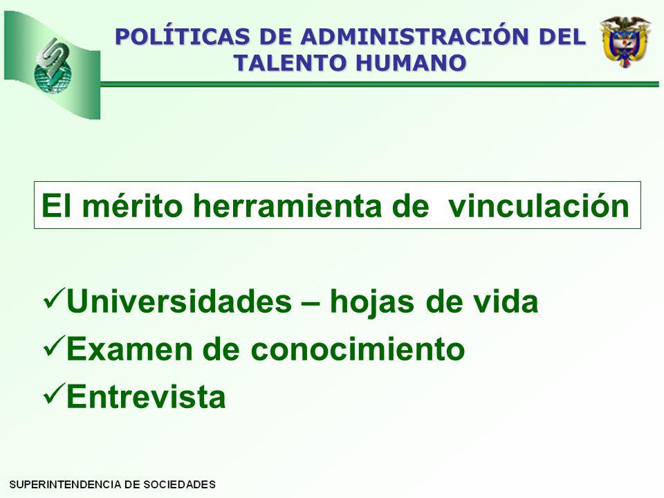 El mérito herramienta de vinculación Universidades – hojas de vida Examen de conocimiento Entrevista POLÍTICAS DE ADMINISTRACIÓN DEL TALENTO HUMANO