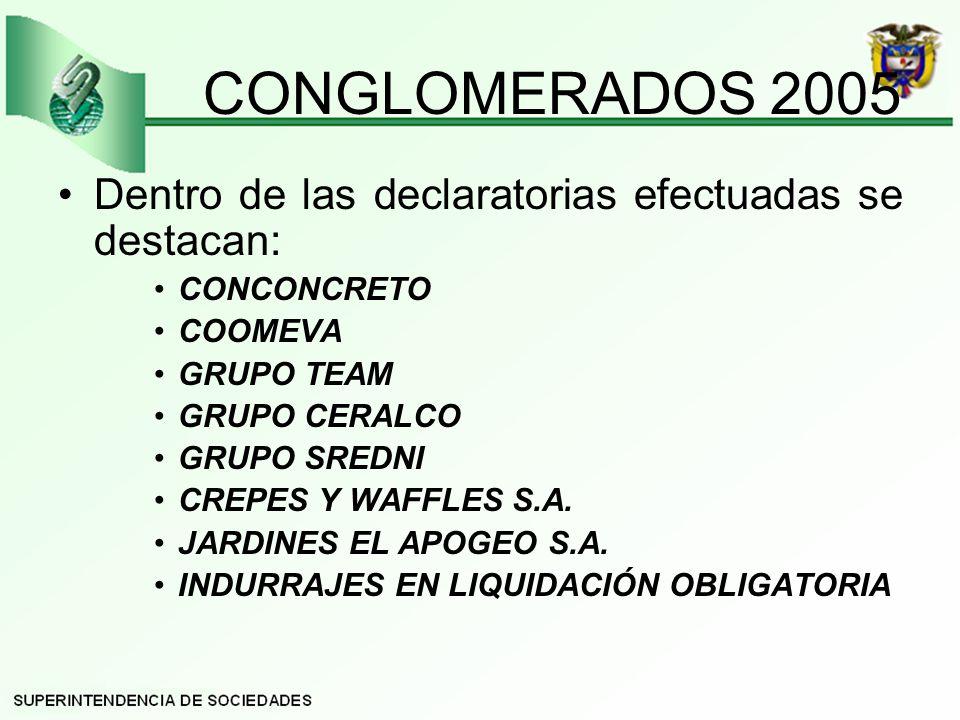 CONGLOMERADOS 2005 Dentro de las declaratorias efectuadas se destacan: CONCONCRETO COOMEVA GRUPO TEAM GRUPO CERALCO GRUPO SREDNI CREPES Y WAFFLES S.A.
