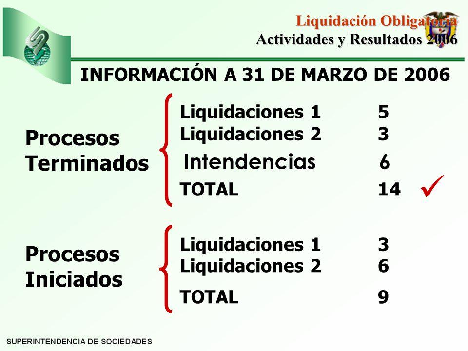 Liquidación Obligatoria Actividades y Resultados 2006 Actividades y Resultados 2006 Procesos Terminados Liquidaciones 1 5 Liquidaciones 2 3 TOTAL 14 Procesos Iniciados Liquidaciones 1 3 Liquidaciones 2 6 TOTAL 9 INFORMACIÓN A 31 DE MARZO DE 2006 Intendencias 6