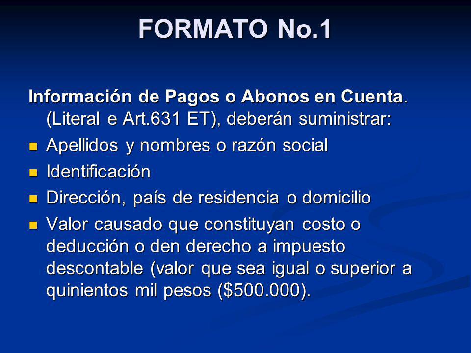 FORMATO No.1 Información de Pagos o Abonos en Cuenta. (Literal e Art.631 ET), deberán suministrar: Apellidos y nombres o razón social Apellidos y nomb