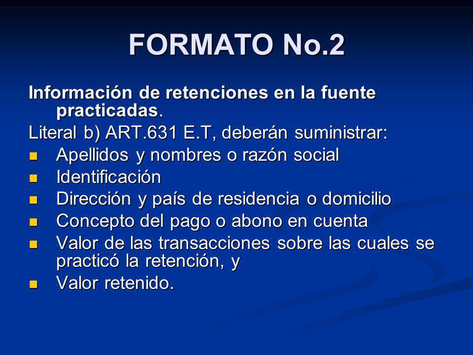 FORMATO No.2 Información de retenciones en la fuente practicadas. Literal b) ART.631 E.T, deberán suministrar: Apellidos y nombres o razón social Apel