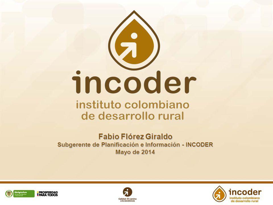 Fabio Flórez Giraldo Subgerente de Planificación e Información - INCODER Mayo de 2014