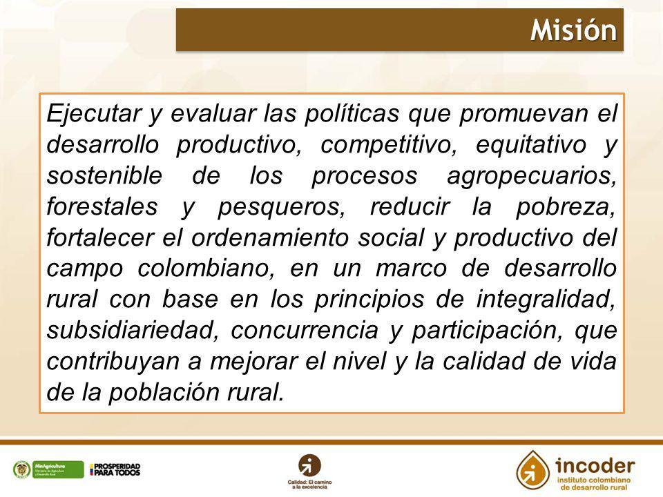2 Ejecutar y evaluar las políticas que promuevan el desarrollo productivo, competitivo, equitativo y sostenible de los procesos agropecuarios, foresta
