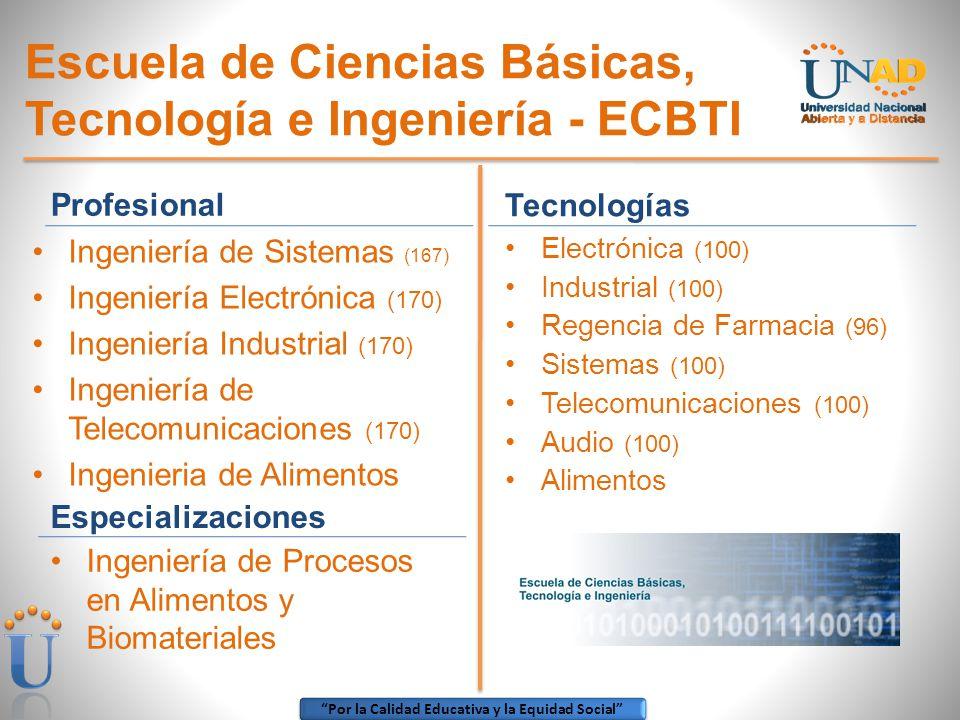 Por la Calidad Educativa y la Equidad Social Escuela de Ciencias Básicas, Tecnología e Ingeniería - ECBTI Tecnologías Electrónica (100) Industrial (10