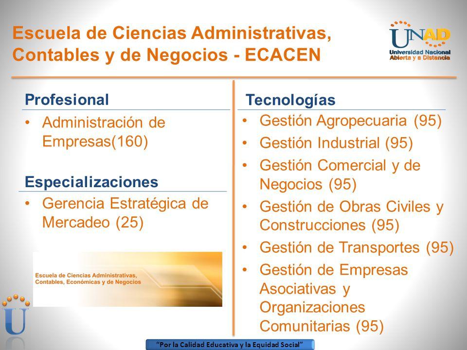 Por la Calidad Educativa y la Equidad Social Escuela de Ciencias Administrativas, Contables y de Negocios - ECACEN Tecnologías Gestión Agropecuaria (9