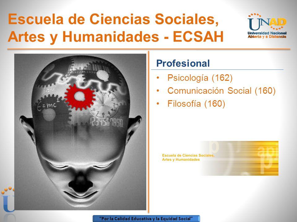 Por la Calidad Educativa y la Equidad Social Escuela de Ciencias Sociales, Artes y Humanidades - ECSAH Profesional Psicología (162) Comunicación Socia