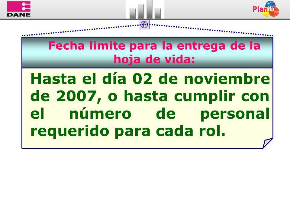 Fecha limite para la entrega de la hoja de vida: Hasta el día 02 de noviembre de 2007, o hasta cumplir con el número de personal requerido para cada rol.