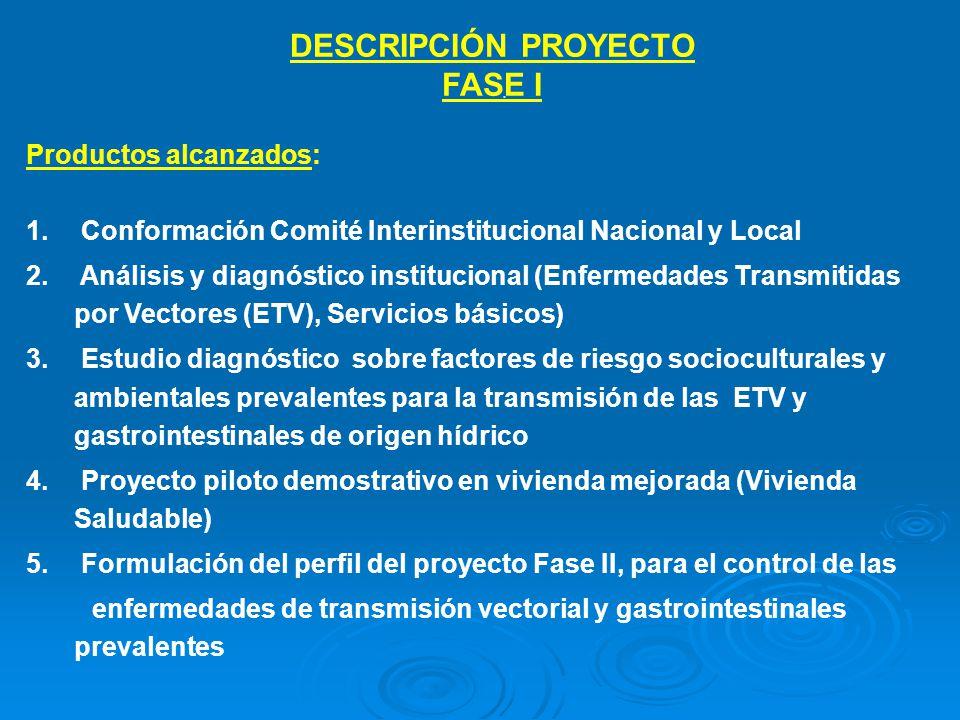 . DESCRIPCIÓN PROYECTO FASE I Productos alcanzados: 1. Conformación Comité Interinstitucional Nacional y Local 2. Análisis y diagnóstico institucional