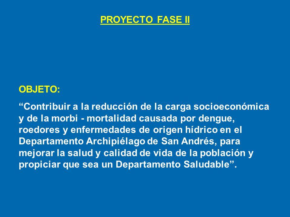 PROYECTO FASE II OBJETO: Contribuir a la reducción de la carga socioeconómica y de la morbi - mortalidad causada por dengue, roedores y enfermedades d