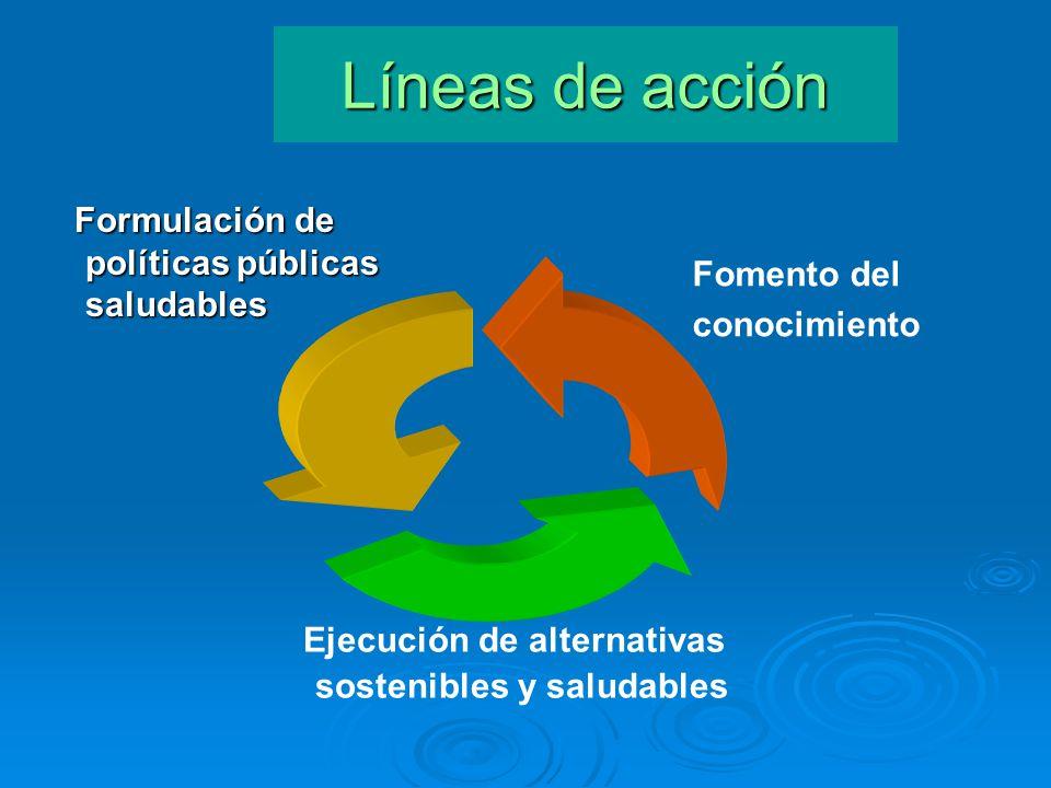. Líneas de acción Fomento del conocimiento Formulación de políticas públicas saludables Formulación de políticas públicas saludables Ejecución de alt