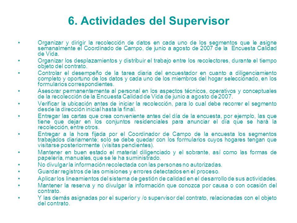 6. Actividades del Supervisor Organizar y dirigir la recolección de datos en cada uno de los segmentos que le asigne semanalmente el Coordinado de Cam