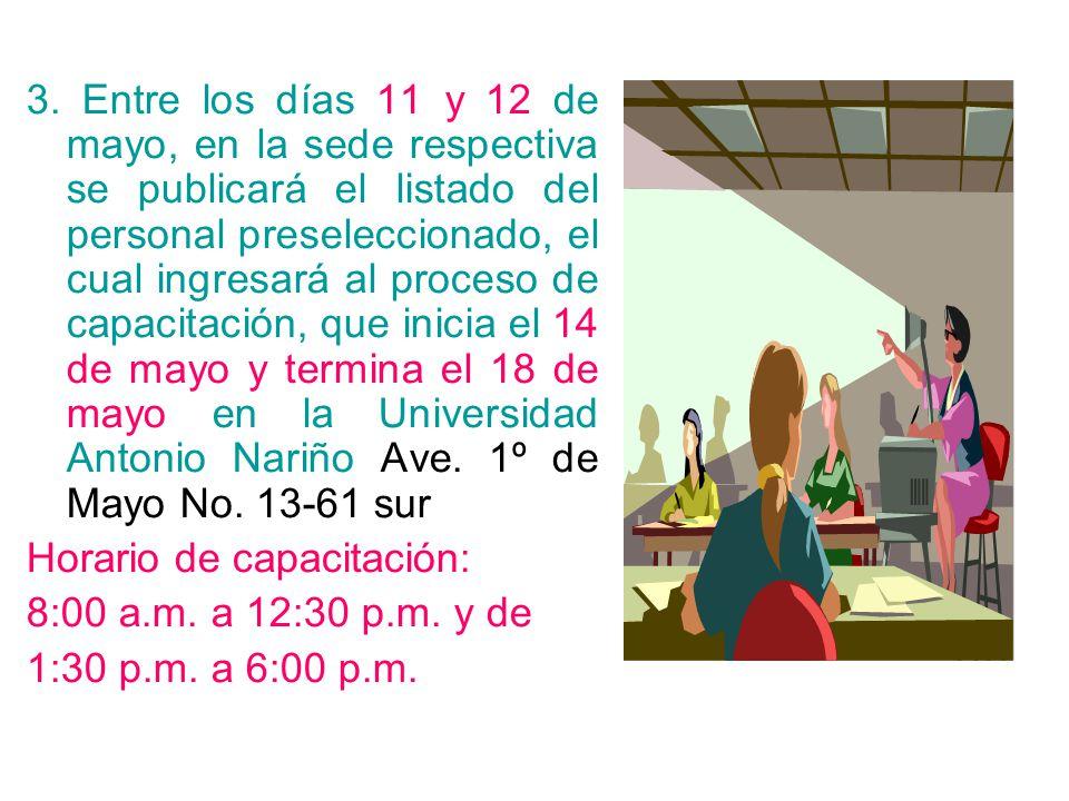 3. Entre los días 11 y 12 de mayo, en la sede respectiva se publicará el listado del personal preseleccionado, el cual ingresará al proceso de capacit