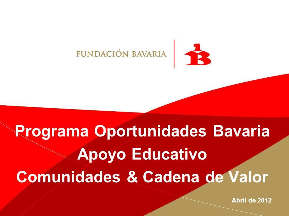 Programa Oportunidades Bavaria Apoyo Educativo Comunidades & Cadena de Valor Abril de 2012