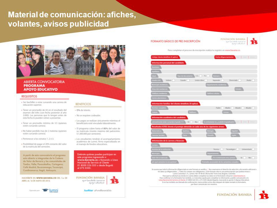 Material de comunicación: afiches, volantes, avisos publicidad