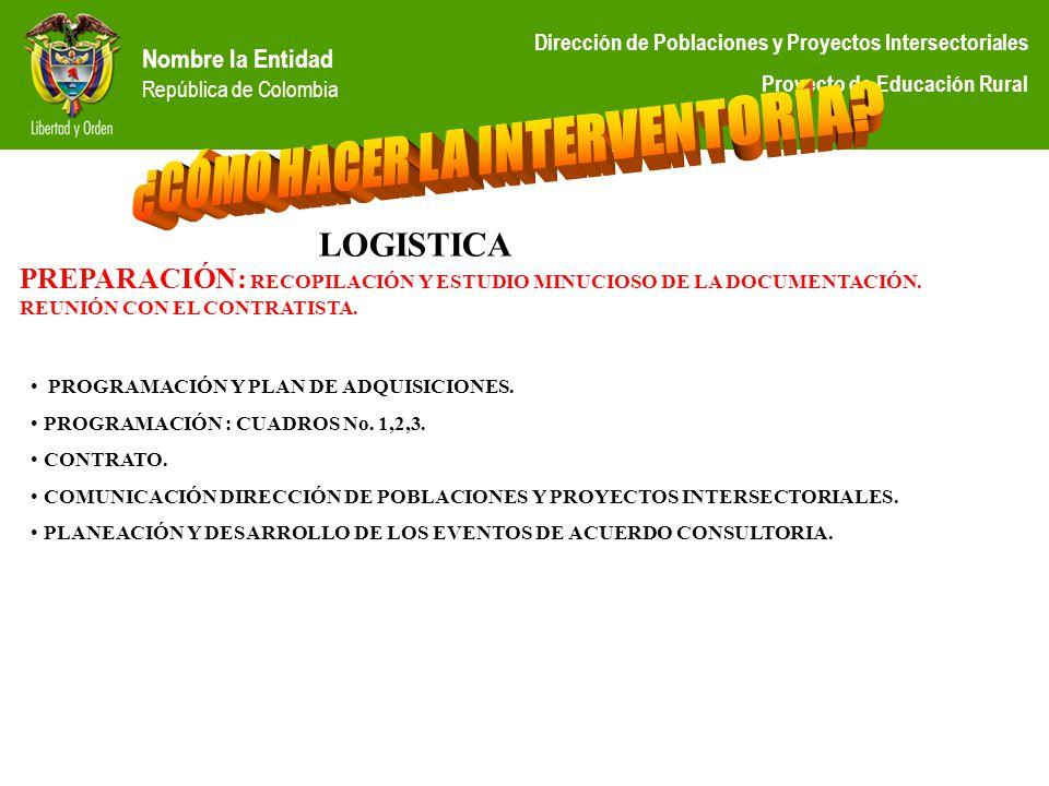 Nombre la Entidad República de Colombia Dirección de Poblaciones y Proyectos Intersectoriales Proyecto de Educación Rural PREPARACIÓN: RECOPILACIÓN Y