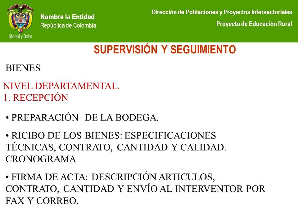 Nombre la Entidad República de Colombia Dirección de Poblaciones y Proyectos Intersectoriales Proyecto de Educación Rural SUPERVISIÓN Y SEGUIMIENTO NI